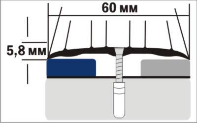 Порог Пластал А4 (60мм) Ясень беленый (с отверстиями) изображение 3